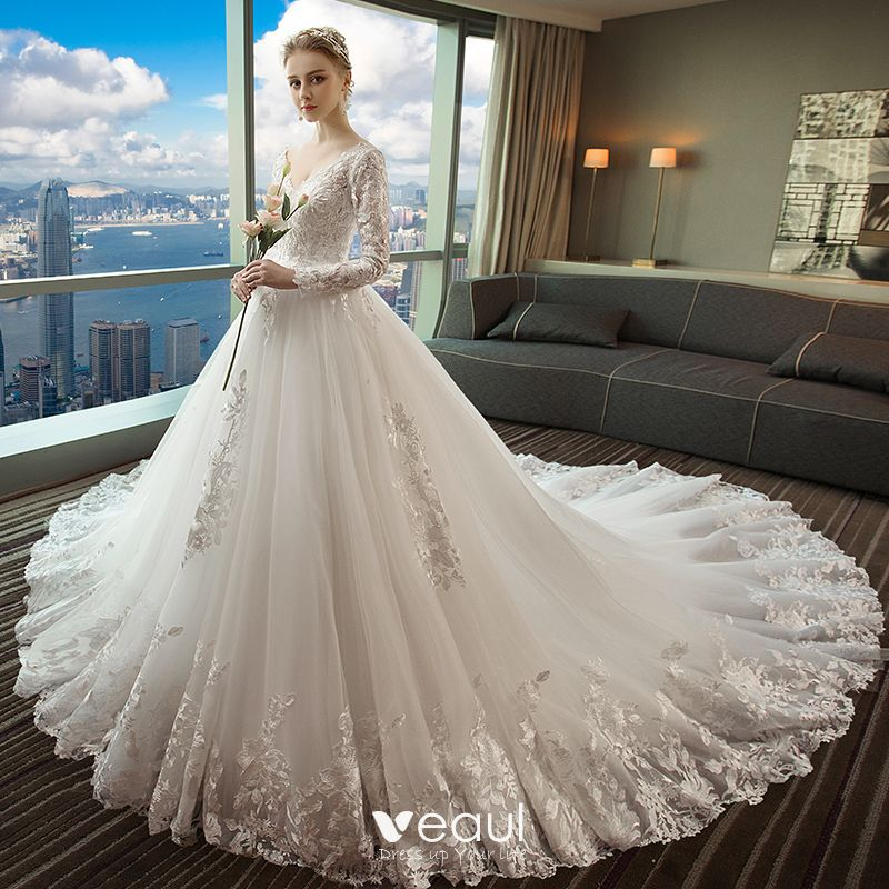 Chic / Beautiful White Wedding Dresses 2018 Ball Gown Lace