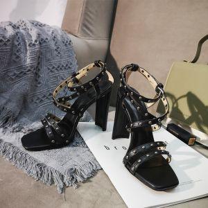 Vintage Schwarz Strassenmode Niet Sandalen Damen 2020 X-Riemen 10 cm Stilettos Peeptoes Sandaletten