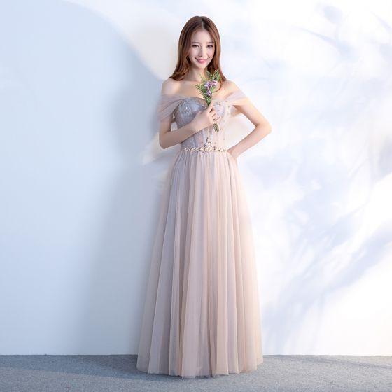 Elegant Grey Prom Dresses 2018 A-Line / Princess Off-The-Shoulder Short Sleeve Beading Crystal Rhinestone Sash Floor-Length / Long Ruffle Backless Formal Dresses
