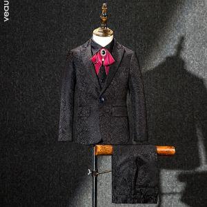 Rouge Cravate Noire Brodé Costumes De Mariage pour garçons 2019
