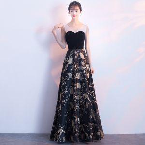 Elegant Black Gold Evening Dresses  2018 A-Line / Princess Embroidered V-Neck Backless Sleeveless Floor-Length / Long Formal Dresses