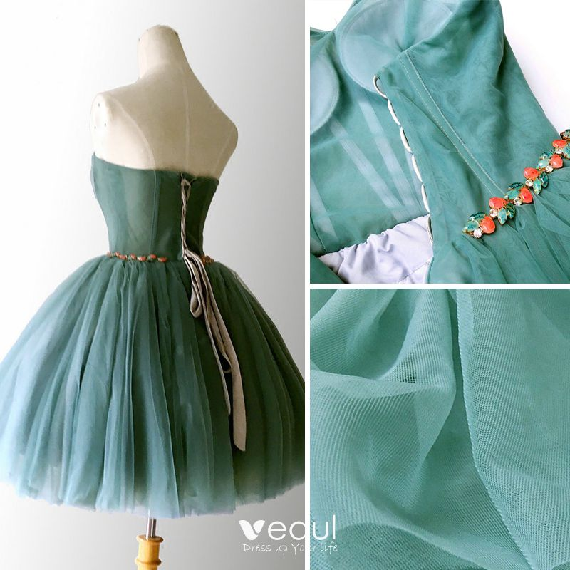 Sexy Jade Green Cocktail Dresses 2018 Ball Gown Crystal Sweetheart Sleeveless Backless Short Formal Dresses