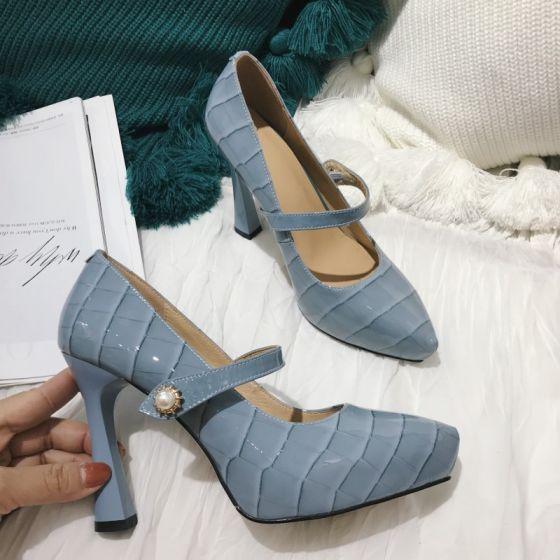 Moda Azul Cielo Gala Tacones 2021 Cuero 10 cm Stilettos / Tacones De Aguja Punta Estrecha Tacones High Heels
