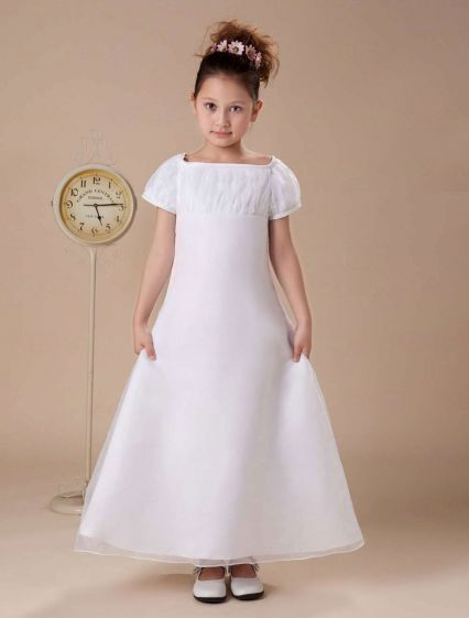 White Short Sleeves Satin Chiffon Flower Girl Dress