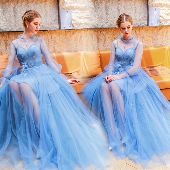 Modern / Fashion Pool Blue Evening Dresses  2019 A-Line / Princess High Neck Pearl Appliques Sequins Lace Flower Long Sleeve Backless Floor-Length / Long Formal Dresses