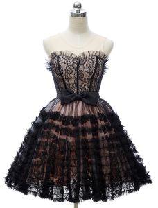 Mooi Little Black Dresses 2016 Sweetheart Trapsgewijze Ruches Tule Met Kant Korte Cocktailjurk Met Strik-knoop