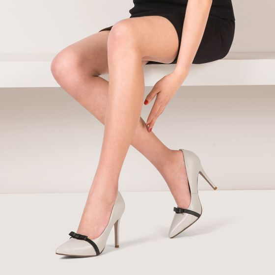 Chic / Beautiful Outdoor / Garden Pumps 2017 Leather Bow High Heel Pointed Toe Pumps