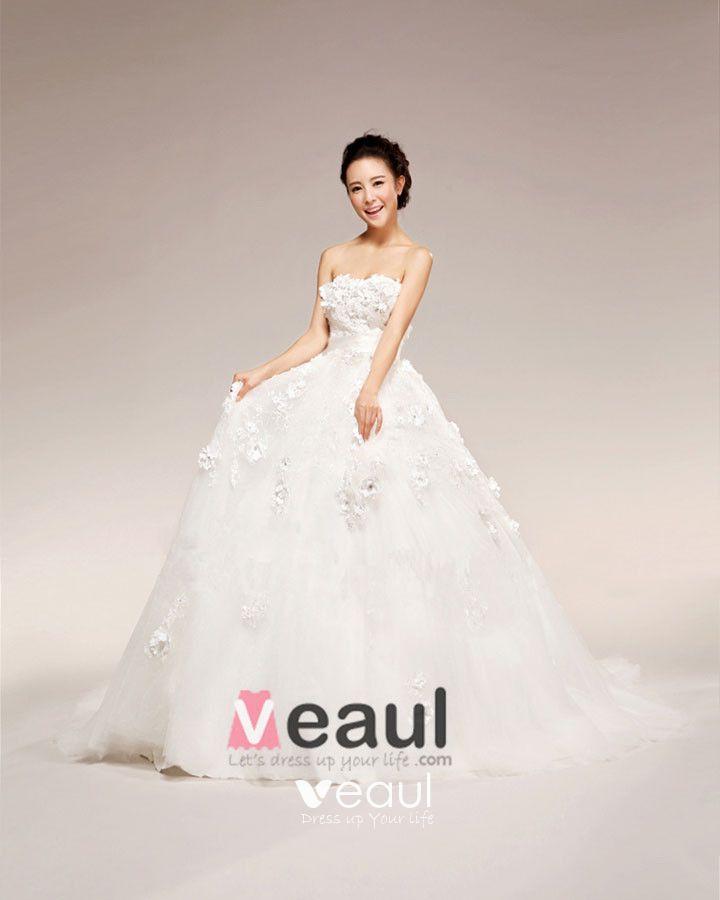 Applique Beading Sweetheart Floor Length Satin Ball Gown Wedding Dress