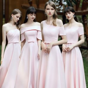 Affordable Blushing Pink Satin Bridesmaid Dresses 2020 A-Line / Princess Backless Bow Sash Floor-Length / Long Ruffle