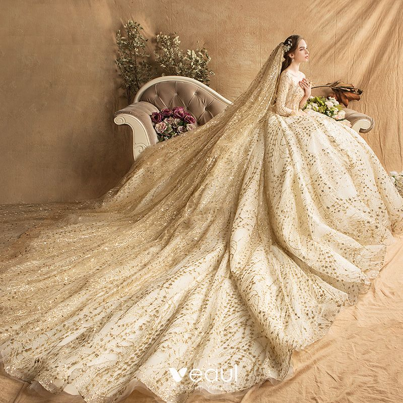 a69fbfa861436 Luxury / Gorgeous Gold Wedding Dresses 2019 Ball Gown Square ...