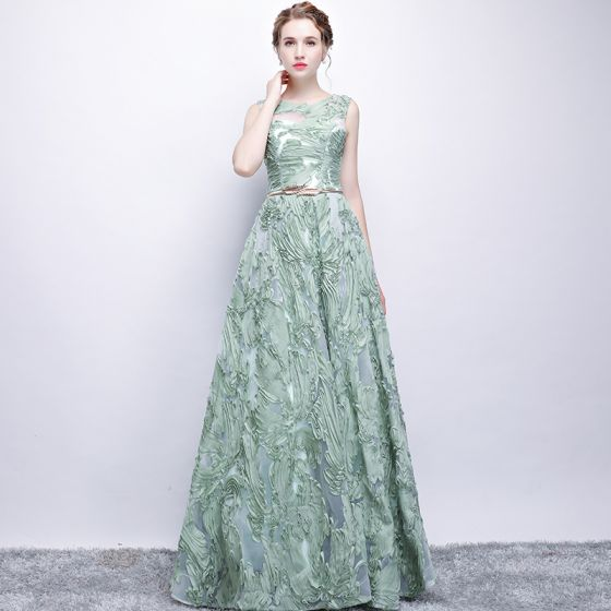 Chic / Beautiful Sage Green Evening Dresses  2017 A-Line / Princess Metal Sash Scoop Neck Floor-Length / Long Formal Dresses