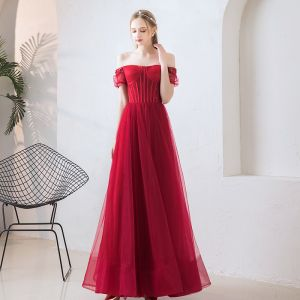 Elegant Burgundy Prom Dresses 2019 A-Line / Princess Off-The-Shoulder Puffy Short Sleeve Beading Floor-Length / Long Ruffle Backless Formal Dresses