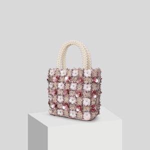 Mooie / Prachtige Blozen Roze Appliques Bloem Parel Handtassen 2019