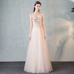 Modern / Fashion Pearl Pink See-through Evening Dresses  2018 A-Line / Princess Scoop Neck 3/4 Sleeve Butterfly Appliques Lace Floor-Length / Long Ruffle Formal Dresses