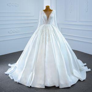 Luksusowe Białe Satyna ślubna Suknie Ślubne 2020 Suknia Balowa Przezroczyste Kwadratowy Dekolt Długie Rękawy Bez Pleców Wykonany Ręcznie Frezowanie Perła Trenem Sweep Wzburzyć