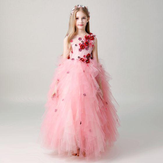 Piękne Cukierki Różowy Przezroczyste Sukienki Dla Dziewczynek 2019 Suknia Balowa Wycięciem Bez Rękawów Aplikacje Kwiat Długie Kaskadowe Falbany Sukienki Na Wesele