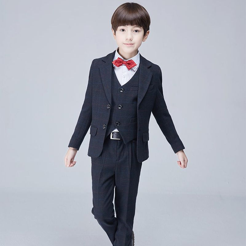 Modest / Simple Black Checked Long Sleeve Boys Wedding Suits 2017
