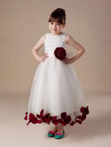 Sleeveless Sash Flower Satin Tulle Flower Girl Dress