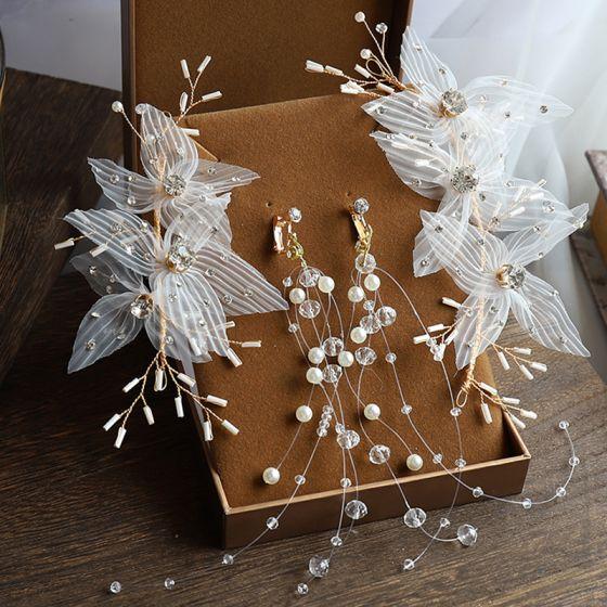 Eleganckie Złote Biżuteria Ślubna 2020 Stop Frezowanie Perła Rhinestone Kwiat Jedwabiu Ozdoby Do Włosów Kutas Kolczyki Ozdoby Do Włosów Ślubne