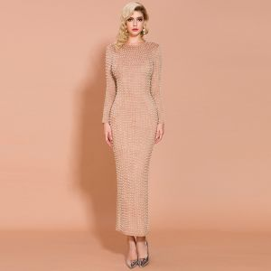 Fashion Nude Suede Evening Dresses  2020 Trumpet / Mermaid Scoop Neck Long Sleeve Beading Pearl Ankle Length Formal Dresses