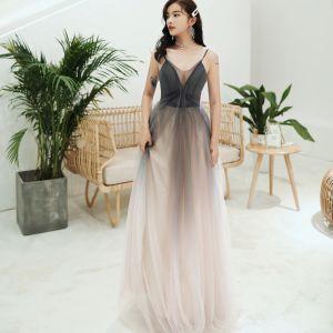 Chic / Beautiful Grey Gradient-Color Formal Dresses 2020 A-Line / Princess Spaghetti Straps Sleeveless Backless Tea-length Evening Dresses