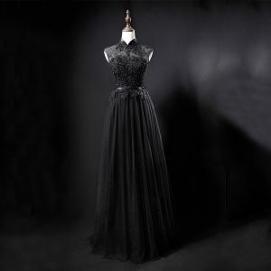 Vintage / Retro Black See-through Evening Dresses  2019 A-Line / Princess High Neck Sleeveless Sash Appliques Lace Beading Floor-Length / Long Ruffle Formal Dresses
