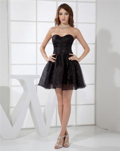 Strapless Neckline Knee Length Mini Organza Woman Tiered Little Black Party Dress