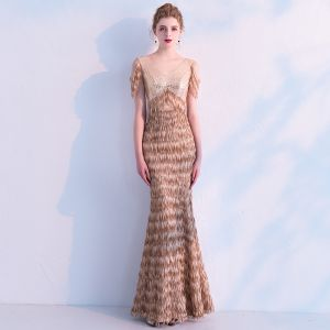 Elegant Champagne Sequins Evening Dresses  2019 Trumpet / Mermaid V-Neck Sleeveless Tassel Polyester Floor-Length / Long Ruffle Backless Formal Dresses