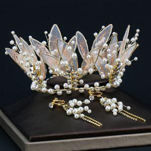 Charmerende Guld Tiara Øreringe Brudesmykker 2020 Legering Perle Rhinestone Bryllup Accessories
