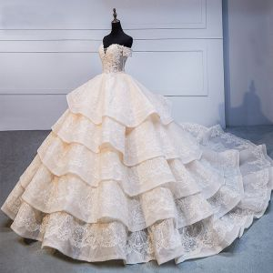 High-end Champagne Handmade  Beading Wedding Dresses 2020 Ball Gown Off-The-Shoulder Lace Flower Sleeveless Backless Cascading Ruffles Royal Train