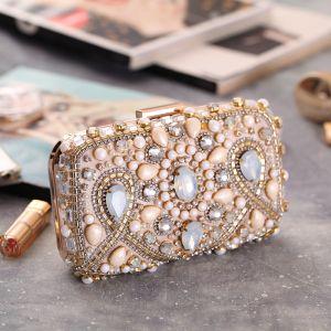 Modern / Fashion Champagne Beading Pearl Rhinestone Metal Clutch Bags 2018