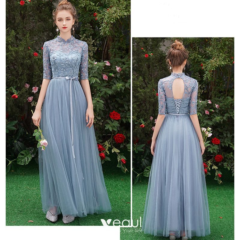 Lorie Lace Wedding Dresses 2019 Appliqued With Lace A Line: Affordable Sky Blue See-through Bridesmaid Dresses 2019 A