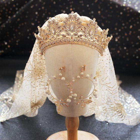 Magnífico Oro Tiara Pendientes Velo de novia Joyas 2019 Metal Perla Rhinestone Boda Accesorios