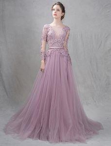Elegante Abendkleider 2016 A-line Tiefem V-ausschnitt Applique Symmetrische Spitze Rüsche Tüll Rückenfreies Kleid