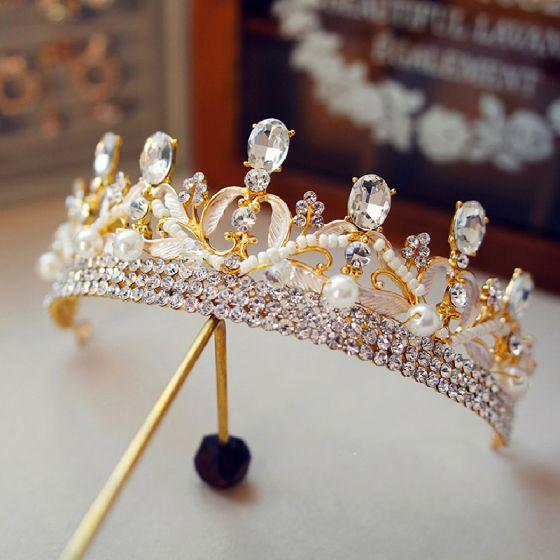 Chic / Beautiful Gold Tiara 2019 Metal Pearl Rhinestone Bridal Hair Accessories