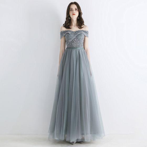 Chic / Beautiful Grey Evening Dresses  2019 A-Line / Princess Off-The-Shoulder Short Sleeve Sequins Beading Sash Floor-Length / Long Ruffle Backless Formal Dresses