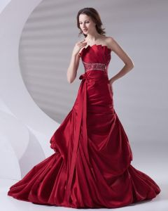 Beading Ruffle Strapless Floor Length Satin Prom Dress