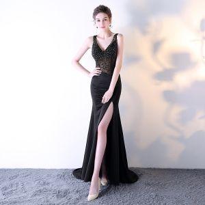 Sexy Black See-through Evening Dresses  2018 Trumpet / Mermaid V-Neck Sleeveless Beading Rhinestone Sweep Train Split Front Formal Dresses