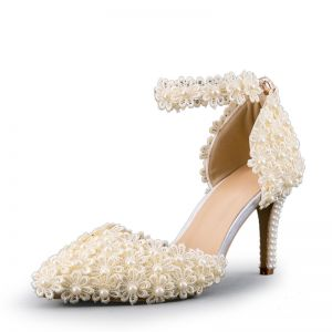 Chic / Beautiful Champagne Wedding Shoes 2019 Pearl Ankle Strap Lace Flower 8 cm Stiletto Heels Pointed Toe Wedding High Heels