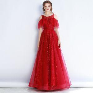 High End Rot Abendkleider 2020 A Linie Rundhalsausschnitt Kurze Ärmel Perlenstickerei Glanz Tülle Lange Rüschen Rückenfreies Festliche Kleider