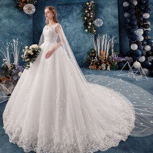 Charming Ivory Wedding Dresses 2019 A-Line / Princess V-Neck Beading Sequins Appliques Pearl Lace Flower Sleeveless Backless Watteau Train