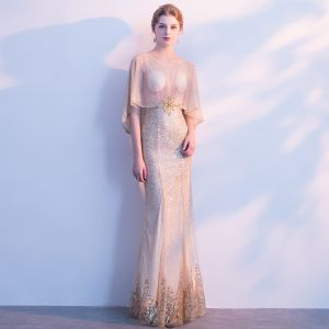 Sexy Gold Evening Dresses  2018 Trumpet / Mermaid Sequins Crystal Pierced Scoop Neck 1/2 Sleeves Floor-Length / Long Formal Dresses