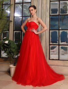 Empire Sweetheart Fleurs Ceinture Robe De Mariée En Tulle Rouge Enceinte