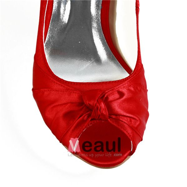 Chaussures De Mariée Rouges Classiques Escarpins Peep Toe Escarpins De Satin