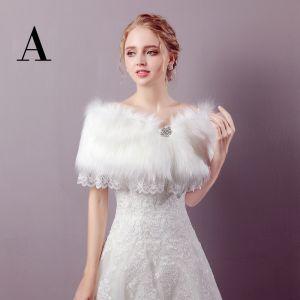 Witte Winter Lace-up Nep Bont Huwelijk Gala Sjaals 2017