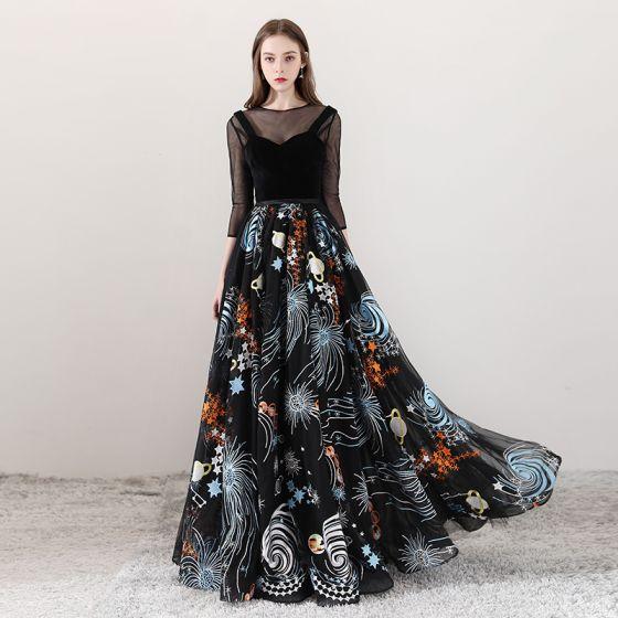 641c36f5277 Bohême Noire Transparentes Robe De Soirée 2018 Princesse Encolure Dégagée  3 4 Manches Impression Tulle Longue ...