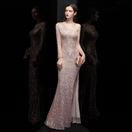 Affordable Rose Gold Sequins Evening Dresses  2020 Trumpet / Mermaid One-Shoulder Long Sleeve Split Front Floor-Length / Long Backless Formal Dresses