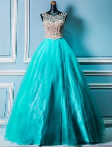 Luxury Prom Dresses 2016 Scoop Neck Beading Rhinestone Pool Blue Tulle Prom Dress