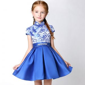 Chinese style Church Wedding Party Dresses 2017 Flower Girl Dresses Royal Blue Short A-Line / Princess Cascading Ruffles High Neck Short Sleeve Embroidered Rhinestone Bow Sash
