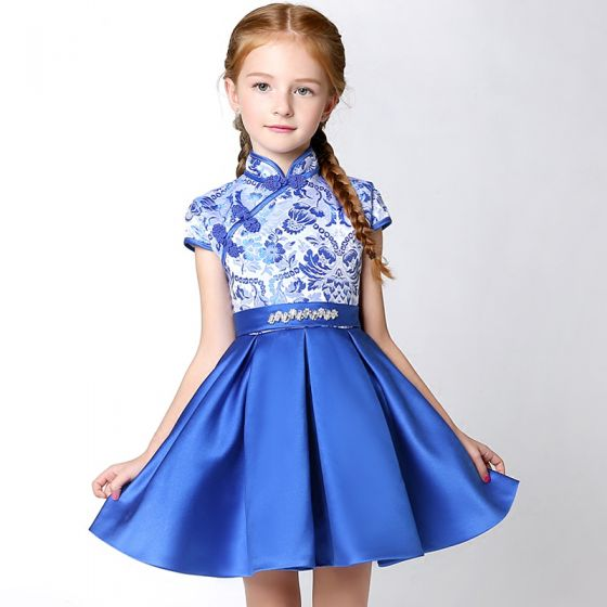 64a8c89bafc1 Chinese style Church Wedding Party Dresses 2017 Flower Girl Dresses Royal  Blue Short A-Line   Princess ...